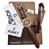 Aquacy Bronze CuSn8 Series Automatic Men's 200m Watch 44mm Black/Brown Dial Brown Strap