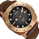 Aquacy Bronze CuSn8 Series Automatic Men's 200m Watch 44mm Black/Gray Dial Brown Strap