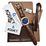 Aquacy Bronze CuSn8 Series Automatic Men's 200m Watch 44mm Black/Blue Dial Brown Strap