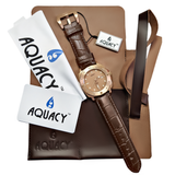 Aquacy Bronze CuSn8 Series Automatic Men's 200m Watch 44mm Bronze Dial Brown Strap