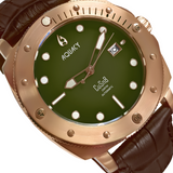 Aquacy Bronze CuSn8 Series Automatic Men's 200m Watch 44mm Olive Drab Green Dial Brown Strap