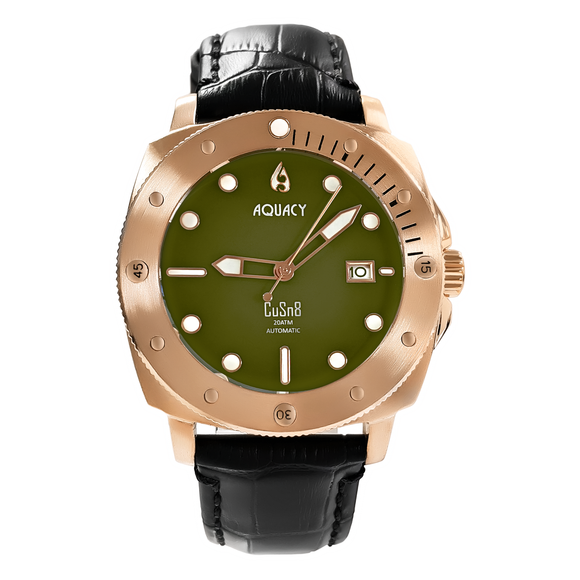 Aquacy Bronze CuSn8 Series Automatic Men's 200m Watch 44mm Olive Drab Green Dial