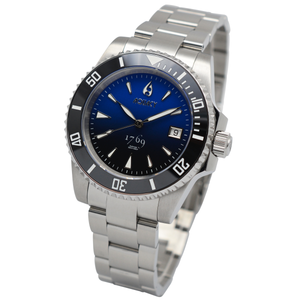 Aquacy 1769 Hei Matau Men's Automatic 300M Half Blue Black Dive Watch ETA 2824 1769.HBLB.B.S.ET