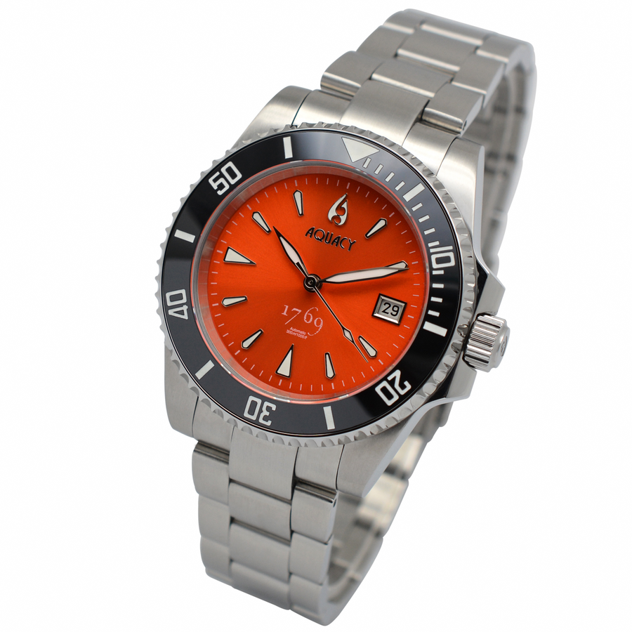 Aquacy 1769 Hei Matau Men's Automatic 300M Orange Dive Watch ETA 2824 1769.O.B.S.ET