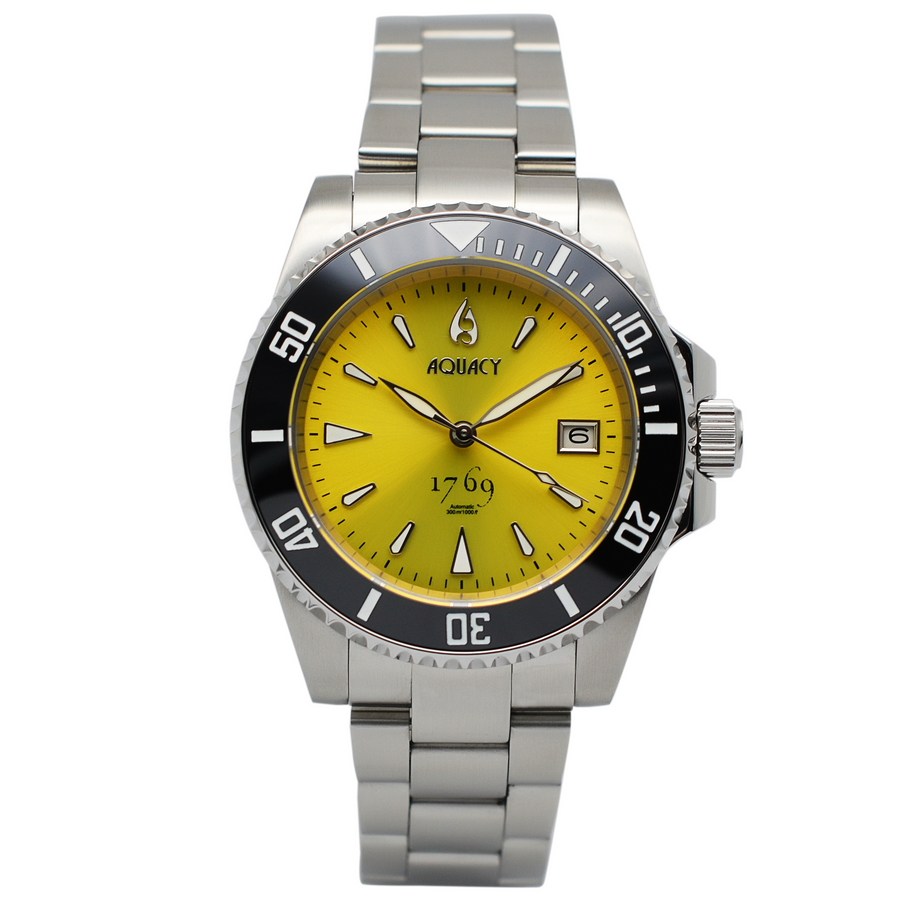 Aquacy 1769 Hei Matau Men's Automatic 300M Yellow Diver Watch 1769.Y.B.S
