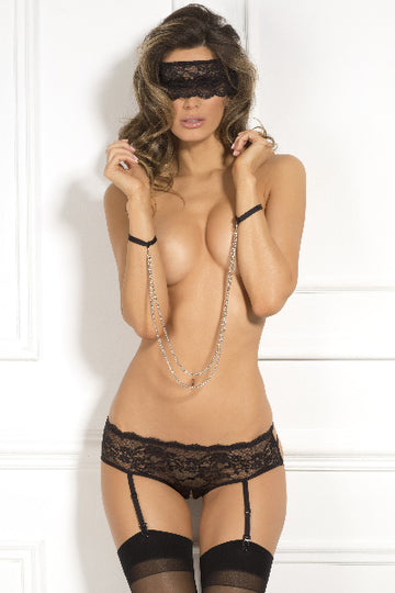 Crotchless Panty And Mask 3 Pc Set