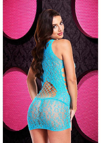 Leopard Lace High Neck Mini Dress Blue