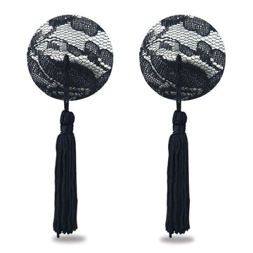 Reusable Black Lace Round Tassel Nipple Pasties
