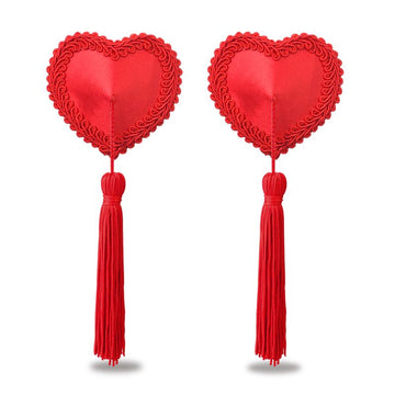 Reusable Red Heart Tassels Nipple Pasties