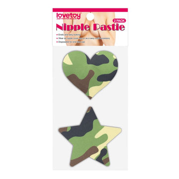 Camo Stars and Heart Nipple Pasties Twin Pack