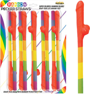 Rainbow Pecker Straws (10 Pack)