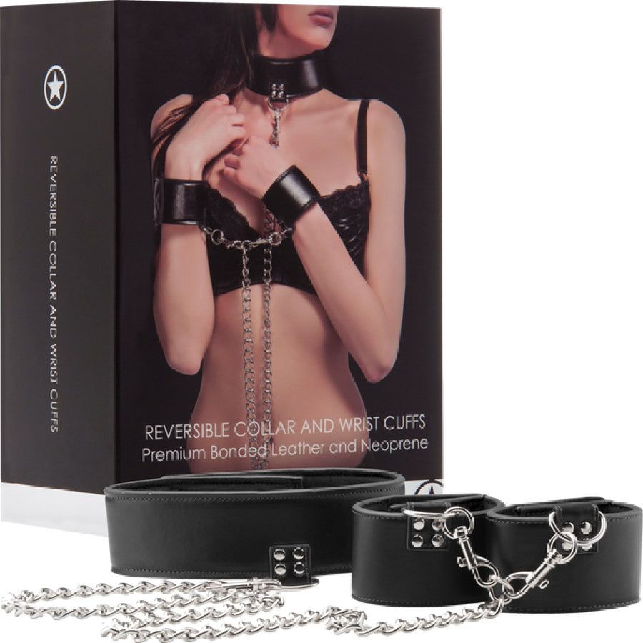 Reversible Collar And Wrist Cuffs (Black)