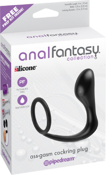 Ass-Gasm Cockring Plug (Black)