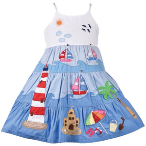 Cotton Kids Blue Beach Dress