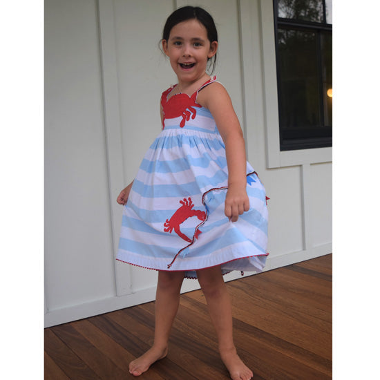 Cotton Kids Crab Embroidered Dress