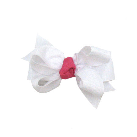 White Grosgrain Bow with Hot Pink Knot