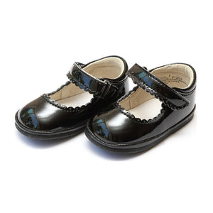 Angel Black Patent Scallop Shoes
