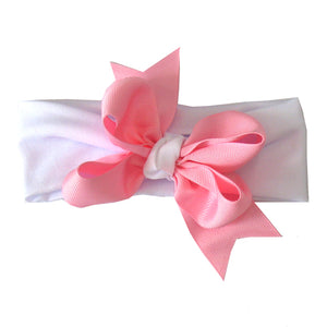 Pink Bow with White Knot Headband
