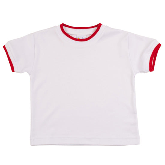 Florence Eiseman White Crew Tee Shirt with Red Tipping