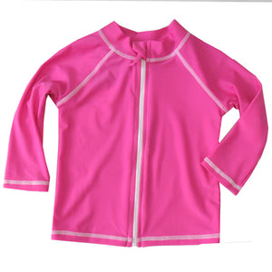 Flap Happy Bubble Gum Pink Zip Rash Guard