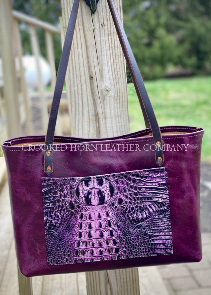 Amethyst Croc And Leather Everyday Tote