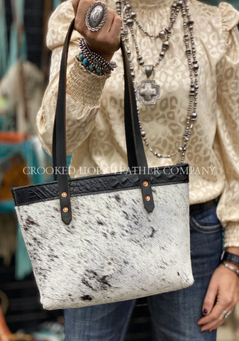 Black And White Cowhide Leather Everyday Tote
