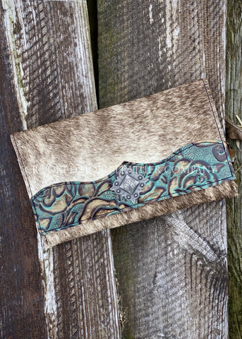 Brindle Cowhide Clutch With Turquoise Floral Trim Embossed