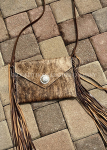 Brindle Cross-Body With Fringe And Vintage Sterling Concho Cowhide