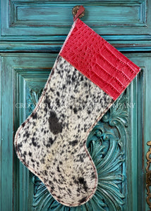 Cowhide And Leather Christmas Stocking #1
