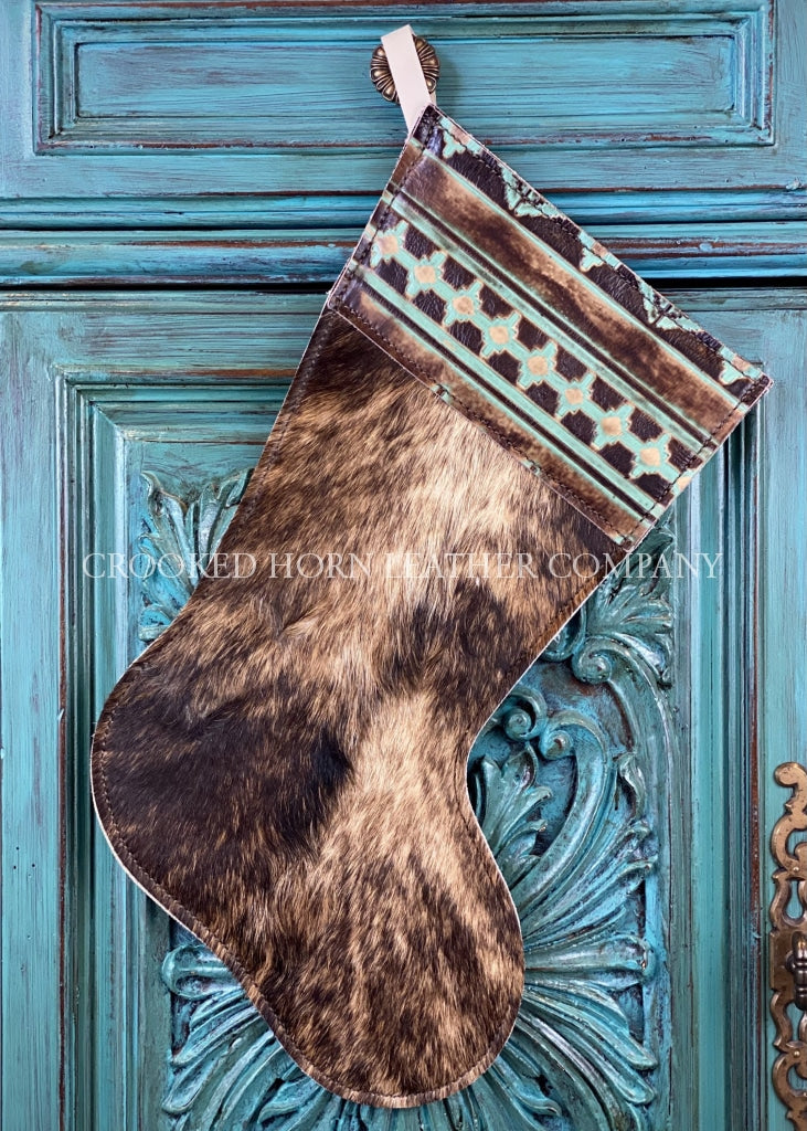 Cowhide And Leather Christmas Stocking #10