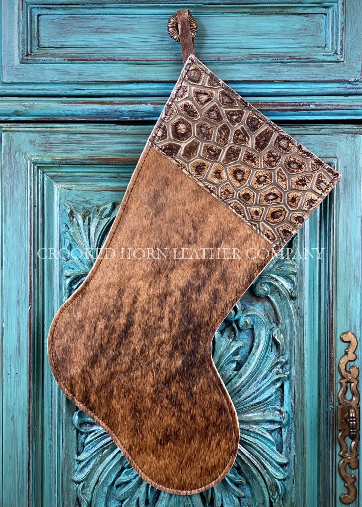 Cowhide And Leather Christmas Stocking #15