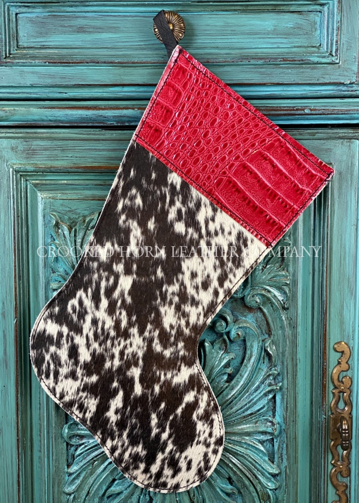 Cowhide And Leather Christmas Stocking #2