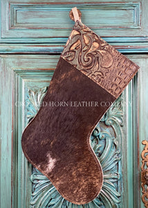 Cowhide And Leather Christmas Stocking #34
