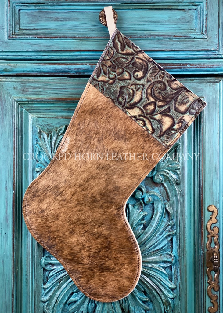 Cowhide And Leather Christmas Stocking #39