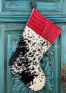 Cowhide And Leather Christmas Stocking #4