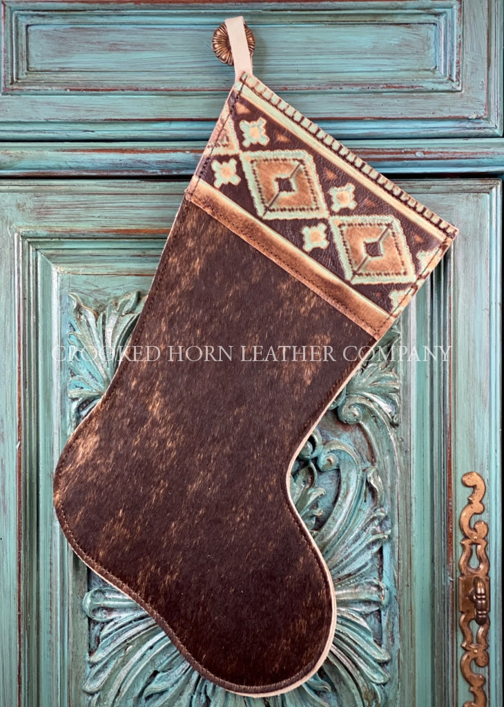 Cowhide And Leather Christmas Stocking #9
