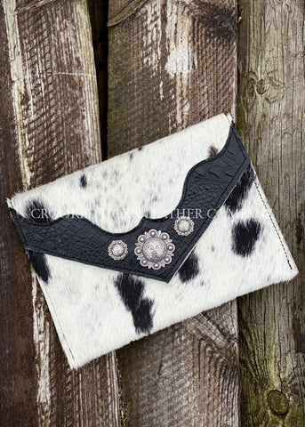 Cowhide And Leather Envelope Clutch With Black Croc Embossed Trim
