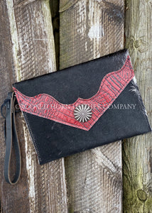 Cowhide And Leather Envelope Clutch With Red Croc Embossed Trim