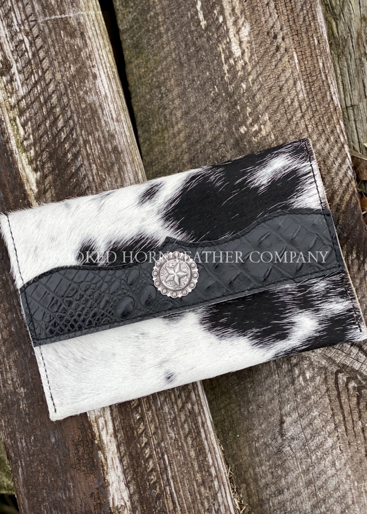 Cowhide Clutch With Black Croc Trim Embossed