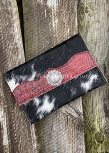 Cowhide Clutch With Red Croc Trim Embossed