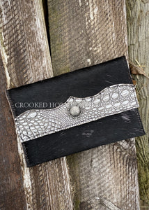 Cowhide Clutch With Silver Croc Trim Embossed