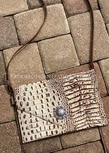 Cross-Body In Ivory And Bronze Croc Leather Purse