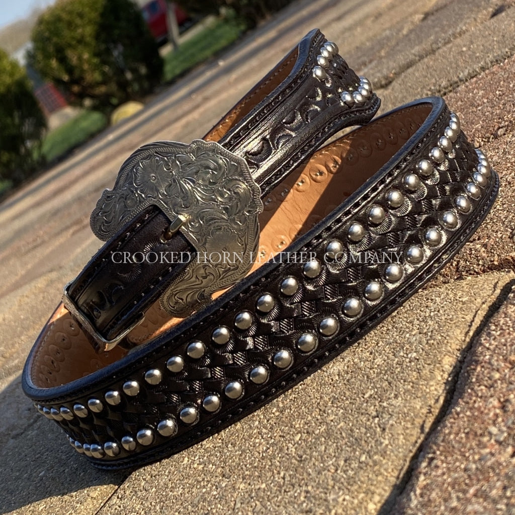 Custom Hand-Tooled Leather Belt With Spots Hand-Tooled Leather Belt