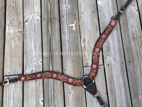 Custom Hand-Tooled Leather Breast Collar