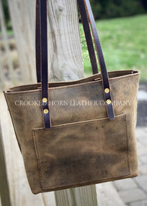 Distressed Brown Leather Everyday Tote