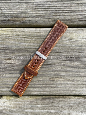 Hand Tooled [Basket Weave] Leather Apple Watch Band - Made To Order 38/40Mm