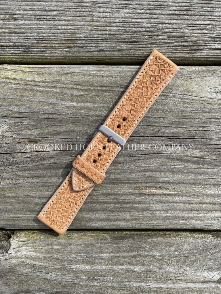 Hand Tooled [Diamond Weave] Leather Apple Watch Band - Made To Order