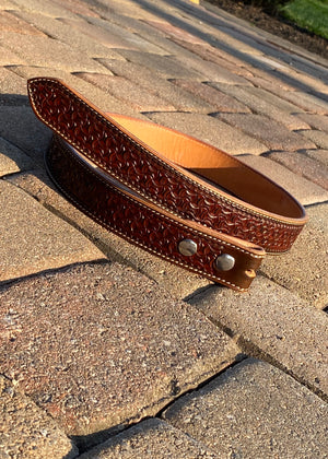 Hand tooled leather belt  Size 36""