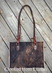 The Payson All-Around in Dark Brindle Cowhide with Old World Chocolate Croc