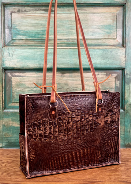 The Payson All-Around in Dark Brindle Cowhide with Chocolate Croc